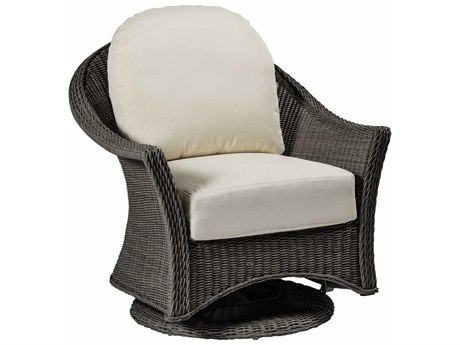Summer Classics Regent Wicker Slate Grey Swivel Glider Lounge Chair with Cushion