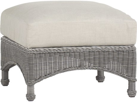Summer Classics Regent Wicker Oyster Ottoman with Cushion