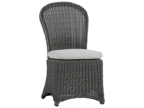 Summer Classics Regent Wicker Slate Grey Dining Arm Chair with Cushion