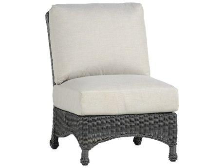 Summer Classics Regent Wicker Slate Grey Slipper Lounge Chair With Cushion