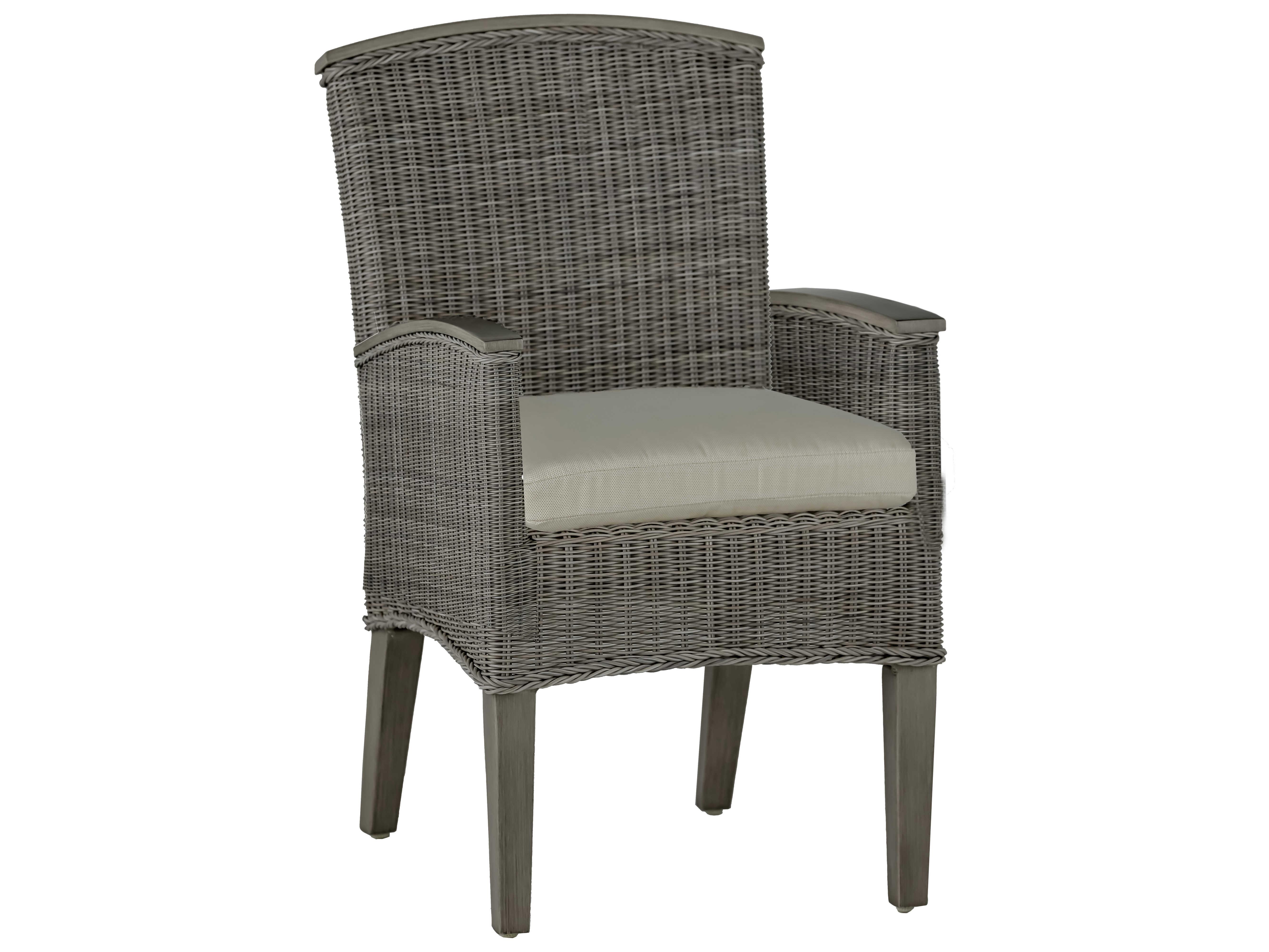 Summer Classics Astoria Wicker Oyster Dining Arm Chair ...