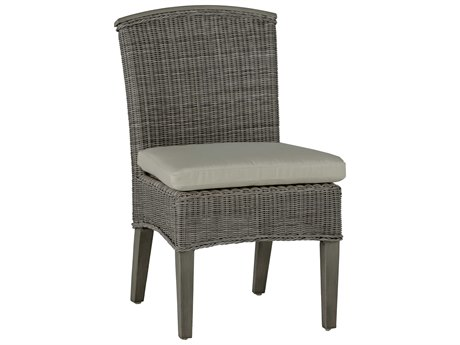 Summer Classics Astoria Wicker Oyster Dining Arm Chair with Cushion PatioLiving
