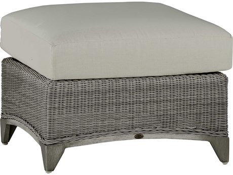 Summer Classics Astoria Wicker Oyster Ottoman with Cushion