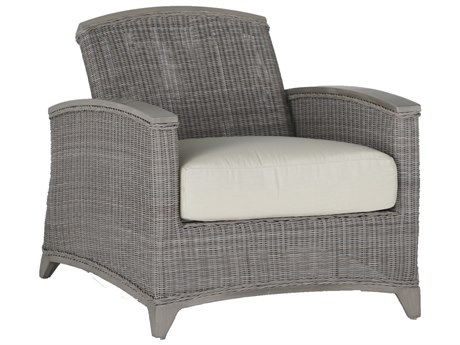 Summer Classics Astoria Wicker Oyster Recliner Lounge Chair with Cushion