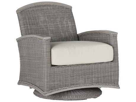 Summer Classics Astoria Wicker Oyster Swivel Lounge Chair with Cushion PatioLiving