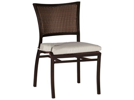 Summer Classics Aire Wicker Mahogany Chestnut Dining Arm Chair with Cushion