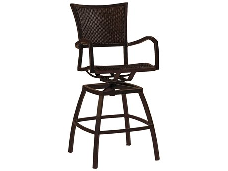 Summer Classics Aire Wicker Ancient Earth Black Walnut Swivel Bar Stool