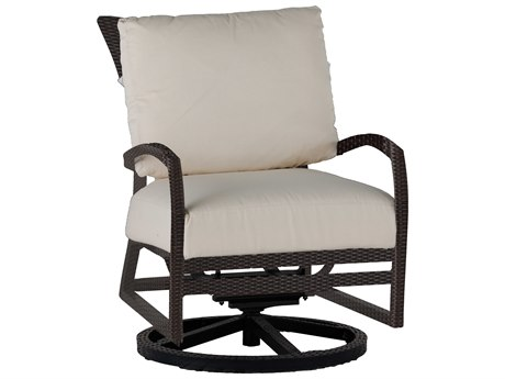 Summer Classics Skye Wicker Ancient Earth Swivel Rocker Lounge Chair with Cushion