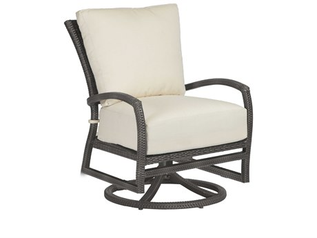 Summer Classics Skye Wicker Slate Grey Swivel Rocker Lounge Chair with Cushion