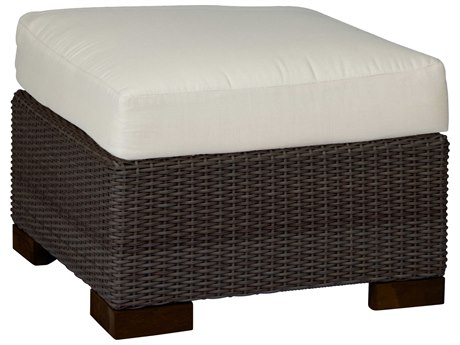 Summer Classics Club Woven Wicker Black Walnut Ottoman with Cushion