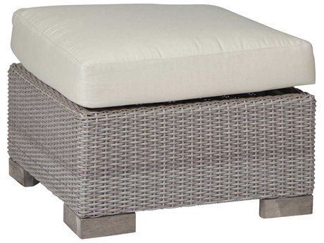 Summer Classics Club Woven Wicker Oyster Ottoman with Cushion