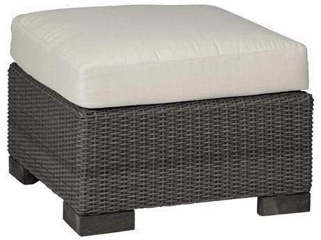 Summer Classics Club Woven Wicker Slate Grey Ottoman with Cushion