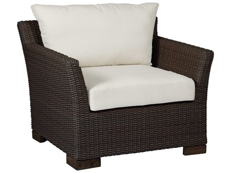 Summer Classics Club Woven Wicker Black Walnut Lounge Chair with Cushion PatioLiving