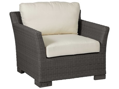 Summer Classics Club Woven Wicker Slate Grey Lounge Chair with Cushion