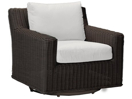 Summer Classics Rustic Wicker Black Walnut Swivel Lounge Chair with Cushion