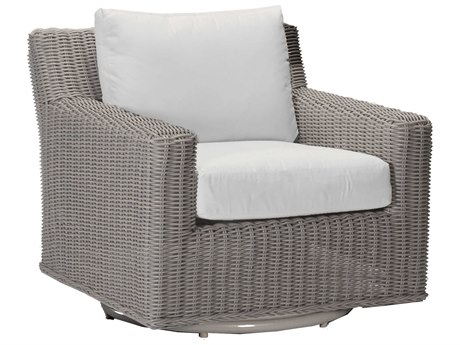 Summer Classics Rustic Wicker Oyster Swivel Lounge Chair with Cushion