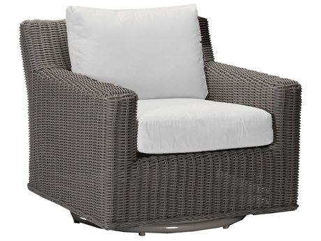 Summer Classics Rustic Wicker Slate Grey Swivel Lounge Chair with Cushion