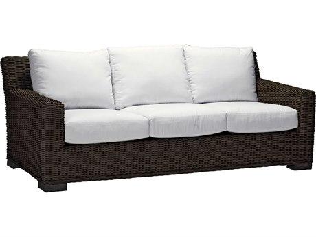 Summer Classics Rustic Wicker Black Walnut Sofa with Cushion