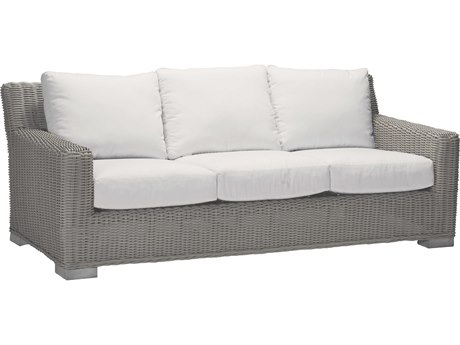 Summer Classics Rustic Wicker Oyster Sofa with Cushion