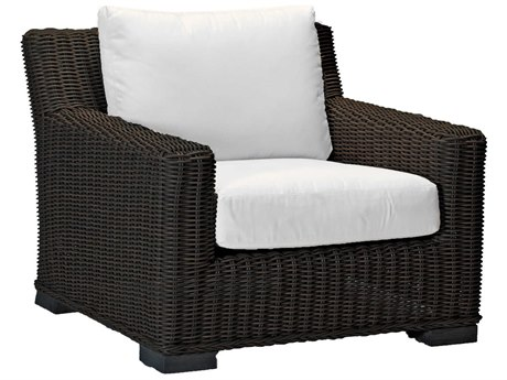 Summer Classics Rustic Wicker Black Walnut Lounge Chair with Cushion