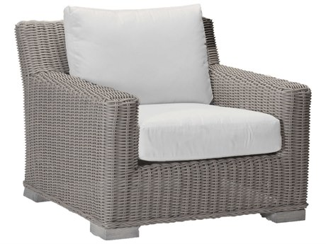 Summer Classics Rustic Wicker Oyster Lounge Chair with Cushion