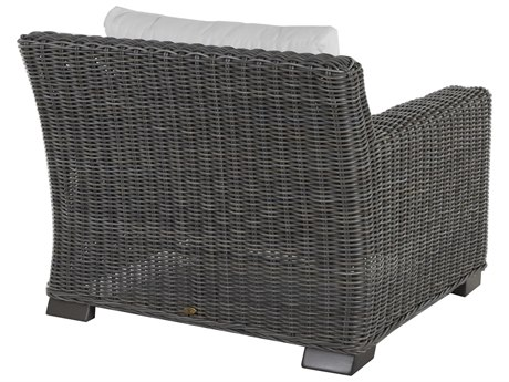Summer Classics Rustic Wicker Slate Grey Lounge Chair with Cushion