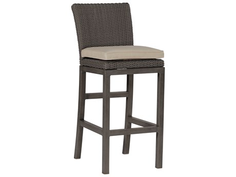 Summer Classics Rustic Wicker Slate Grey Bar Stool