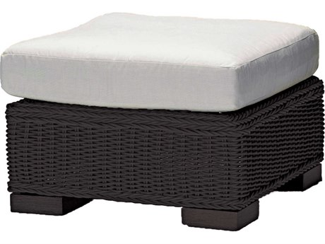 Summer Classics Rustic Wicker Black Walnut Ottoman with Cushion