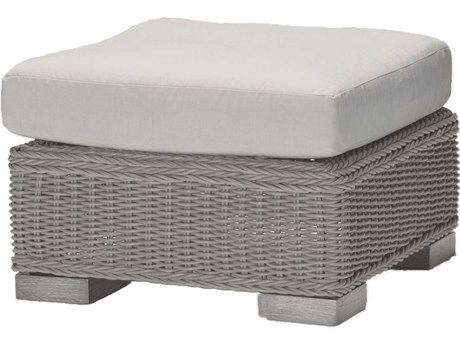 Summer Classics Rustic Wicker Oyster Ottoman with Cushion