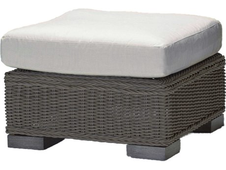 Summer Classics Rustic Wicker Slate Grey Ottoman with Cushion