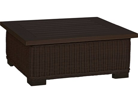 Summer Classics Rustic Wicker Black Walnut 43'' Wide Square Coffee Table