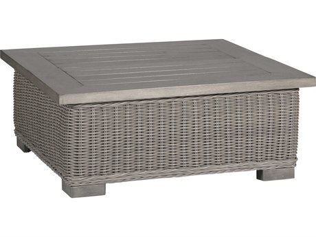 Summer Classics Rustic Wicker Oyster 43'' Wide Square Coffee Table