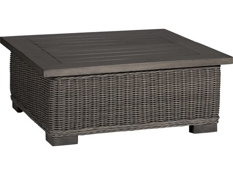 Summer Classics Rustic Wicker Slate Grey 43'' Wide Square Coffee Table