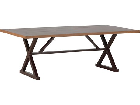 Summer Classics Cahaba Aluminum Natural & Mahogany 84''W x 43''D Rectangular Dining Table with Umbrella Whole