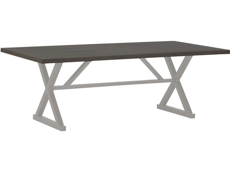 Summer Classics Cahaba Aluminum Slate Grey 84''W x 43''D Rectangular Dining Table with Umbrella Whole