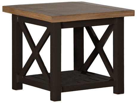 Summer Classics Cahaba Aluminum Natural & Mahogany 24'' Wide Square End Table