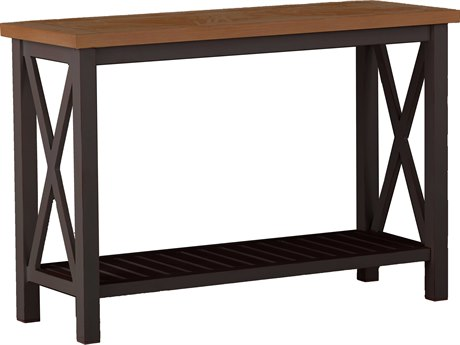 Summer Classics Cahaba Aluminum Natural & Mahogany 50''W x 19''D Rectangular Console Table SUM382317
