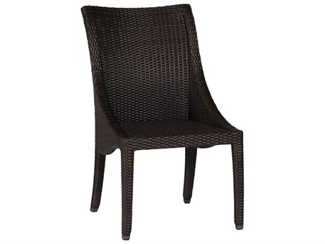 Summer Classics Athena Wicker Black Walnut Dining Arm Chair with Cushion PatioLiving