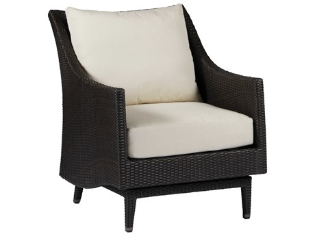 Summer Classics Athena Wicker Black Walnut Spring Lounge Chair with Cushion