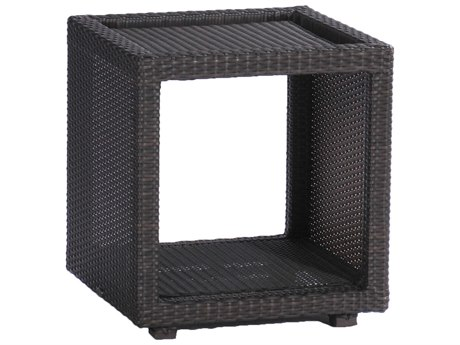 Summer Classics Athena Wicker Black Walnut 18'' Wide Square Towel Caddy End Table