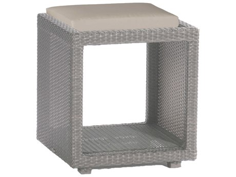 Summer Classics Athena Wicker Oyster 18'' Wide Square Towel Caddy End Table