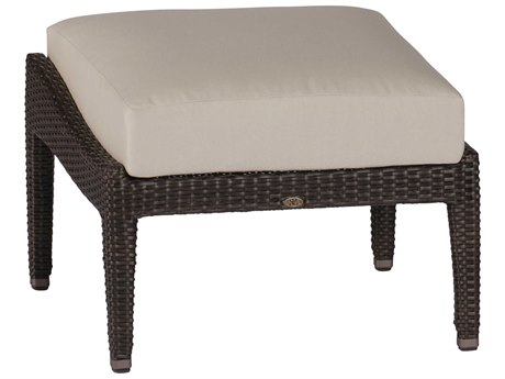 Summer Classics Athena Wicker Black Walnut Ottoman with Cushion