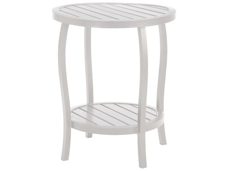 Summer Classics Cottage Aluminum French Linen 22'' Wide Round End Table