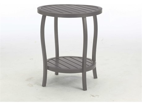 Summer Classics Cottage Aluminum Slate Grey 22'' Wide Round End Table