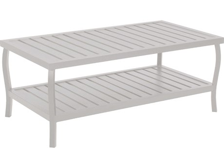Summer Classics Cottage Aluminum French Linen 40''W x 22''D Rectangular Coffee Table