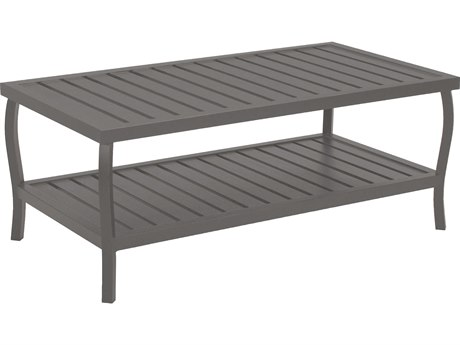 Summer Classics Cottage Aluminum Slate Grey 40''W x 22''D Rectangular Coffee Table