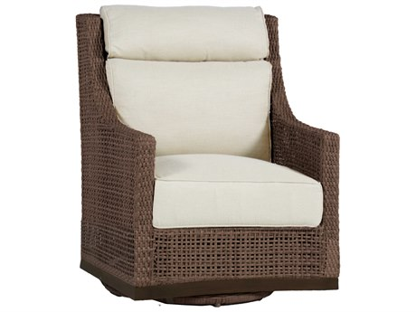 Summer Classics Peninsula Wicker Mahogany Chestnut Swivel Lounge Chair with Cushion