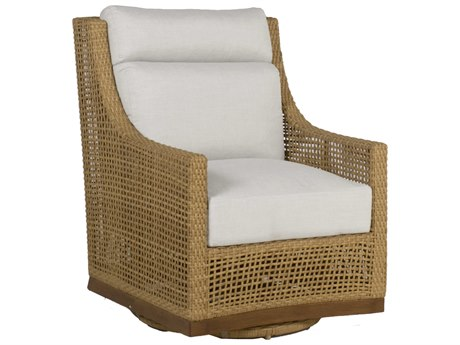 Summer Classics Peninsula Wicker Raffia Sandalwood Swivel Lounge Chair with Cushion