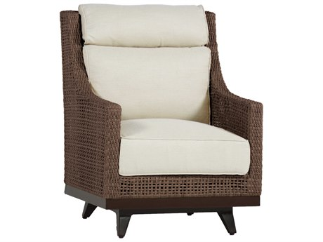Summer Classics Peninsula Wicker Mahogany Chestnut Spring Lounge Chair with Cushion