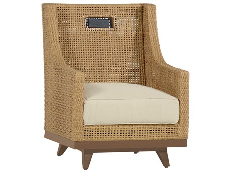 Summer Classics Peninsula Wicker Raffia Sandalwood Spring Lounge Chair with Cushion